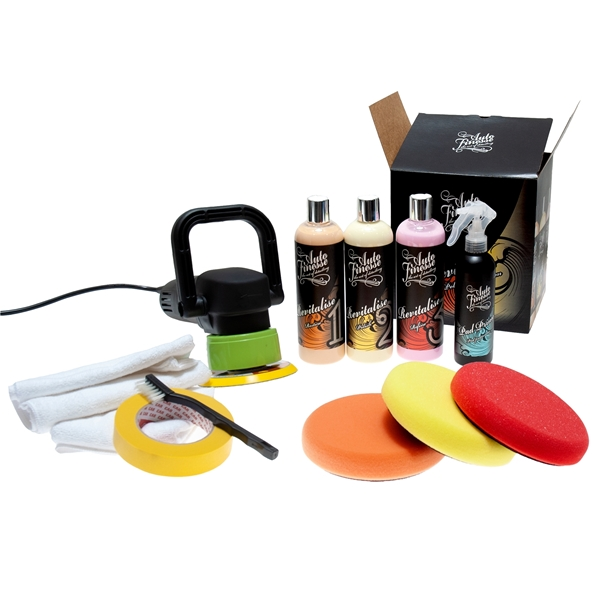 Dual action polisher paired with a complete polishing kit by Autofinesse
