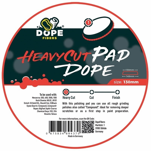 Picture of Dope Fibers - Heavy Cut Pad Dope 130-145mm (Red)